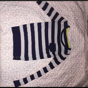 Navy Blue and White Striped Long Sleeve